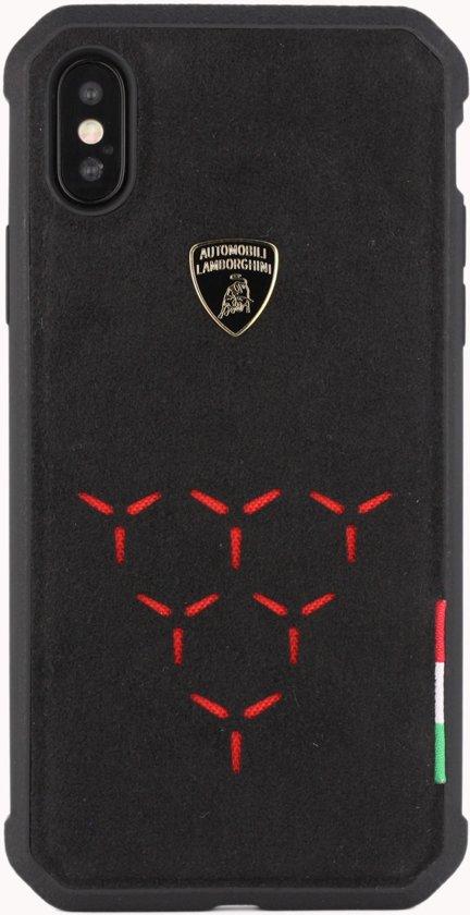 Lamborghini backcover Alcantara Apple iPhone X / Xs - Rood