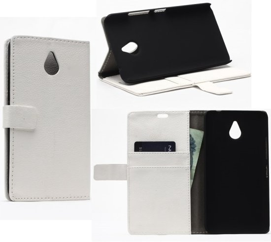 Litchi Cover wit wallet case hoesje Vodafone Smart Prime 7