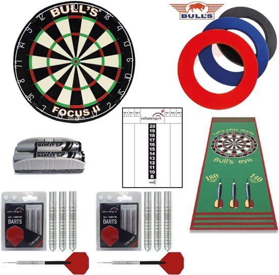 Bulls Complete dartset inclusief ring, 2 sets darts, schrijfbord en dartmat - dartbord - dartpijlen - dartset - dartmat