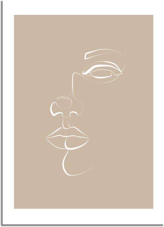 DesignClaud Poster gezicht portret naturel - minimalisme A3 + fotolijst wit