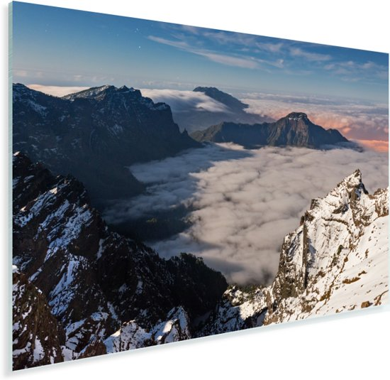 De besneeuwde bergtoppen van het Nationaal park Caldera de Taburiente Plexiglas 60x40 cm - Foto print op Glas (Plexiglas wanddecoratie)