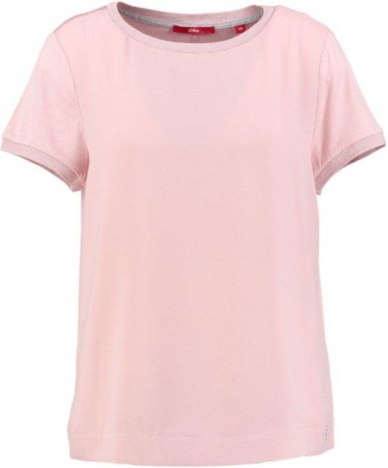 S.oliver roze blouse shirt met glinsterzoom - Maat 42