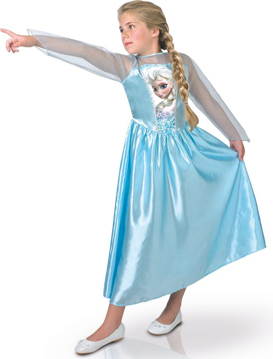 Elsa Frozen™ kostuum voor meiden - Kinderkostuums 9 - 10 jaar
