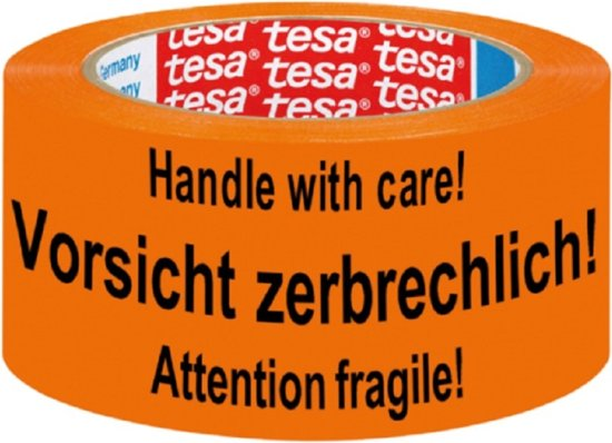 Tesa signalisatietape formaat 50 mm x 66 m oranje met opschrift handle with care