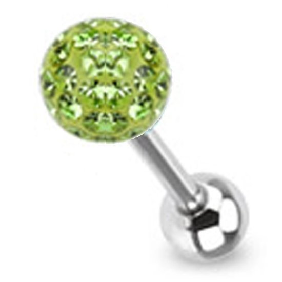 Tongpiercing met ferido multi crystal met Epoxy groen ©LMPiercings