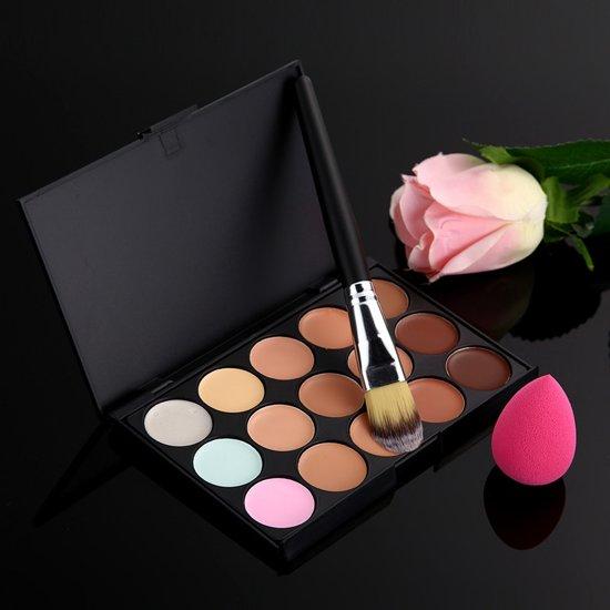 Concealer & Foundation Cosmetica Palette - Contour Highlighter Poeder Kit Palet Met Kwast & Spons
