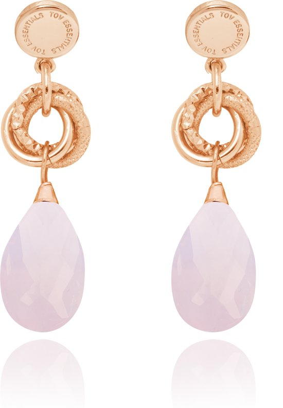 TOV Essentials Oorbellen Tiny Pure Stone - 5,5cm - Rosé/Rozen Kwarts
