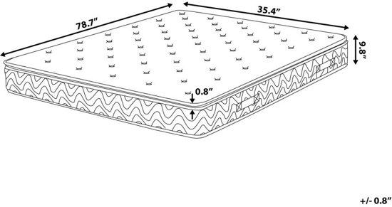 Beliani Joy Pocketverenmatras Grijs Schuim 90 x 200 cm