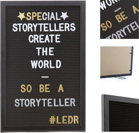 LEDR® Letterbord 30 x 45 Volledig Zwart – Inclusief 354 witte én 354 gouden & zilveren letters, symbolen & emoticons – Inclusief verstelbaar standaard - Eiken houten frame