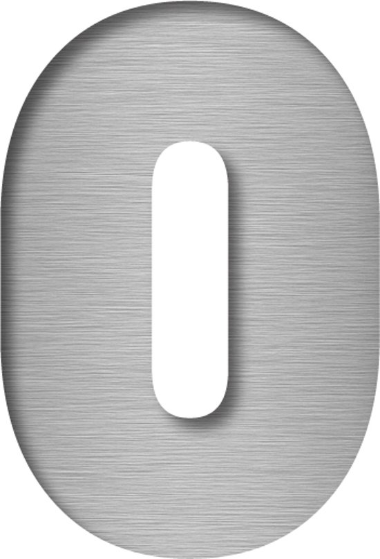 RVS Huisnummer kopen cijfer 0 | Huisnummer RVS (look)