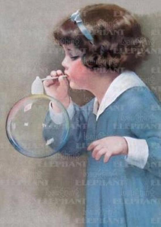 Afbeelding van het spel Girl Bubble Blower - Birthday Greeting Card