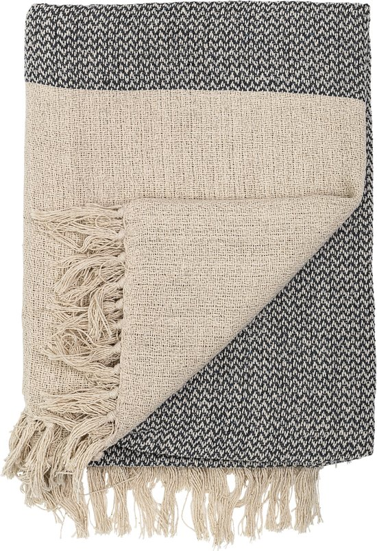 Bloomingville - Throw - 83% Cotton, 10% Polyester, 7% Viscose - L160xB130 cm - Naturel/Zwart