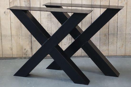Tafel Stalen Poten : Bol.com stalen x poten tafel set á 2 stk zwart gepoedercoate