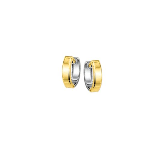 The Jewelry Collection klap-oorringen Hol 5,0 mm Bol - Bicolor Goud (14 Krt.)