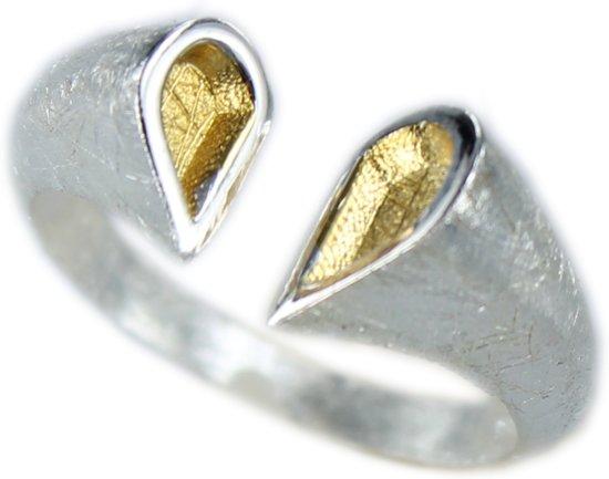 Zilveren Ring - Hart - Verguld - Verstelbaar