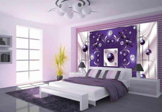 Paarse Accessoires Slaapkamer : Bol fotobehang vlies modern slaapkamer paars zilver