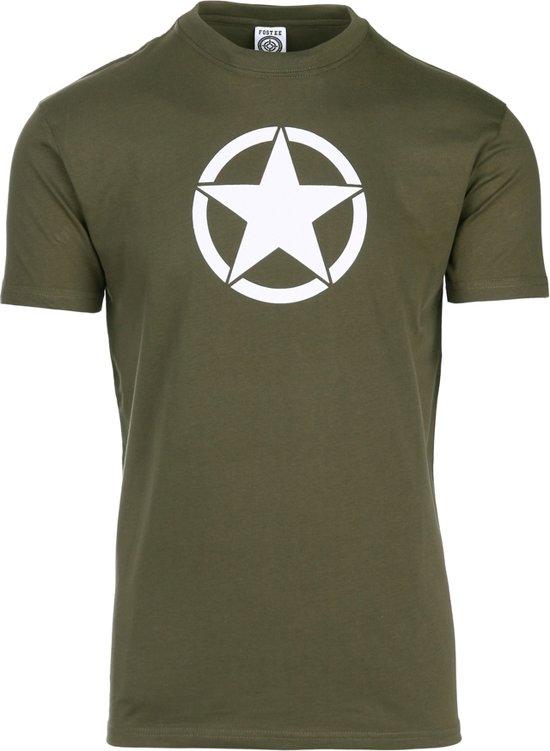T-shirt legergroen met witte ster US Army