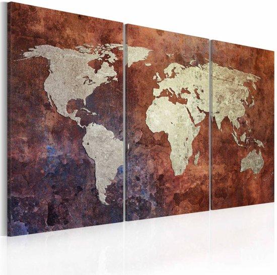 Schilderij - Roestige kaart van de Wereld - drieluik