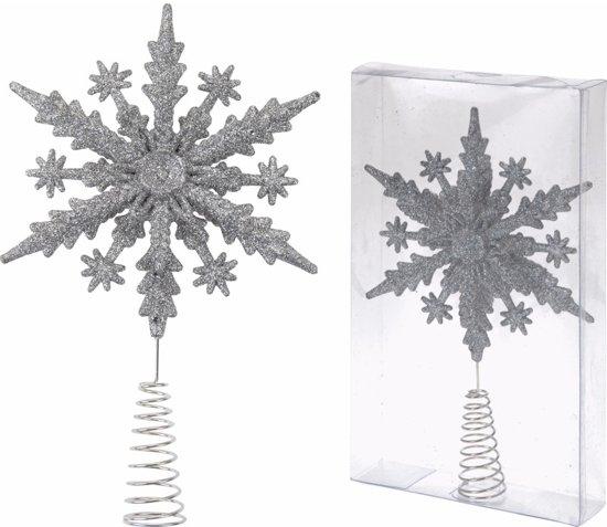 Kerst zilveren sneeuwvlok piek Classic Silver 22 cm