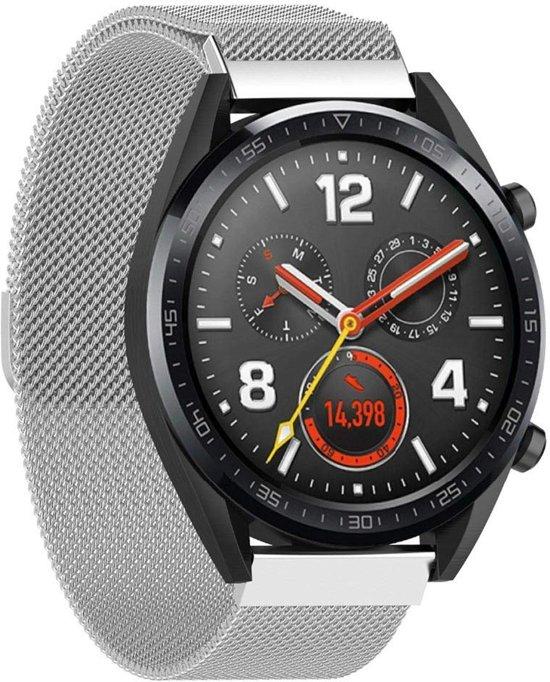 Milanese Loop Armband Voor Huawei Watch GT Active/Classic/Sport - Milanees Horloge Bandje Polsband - Zilver Kleurig