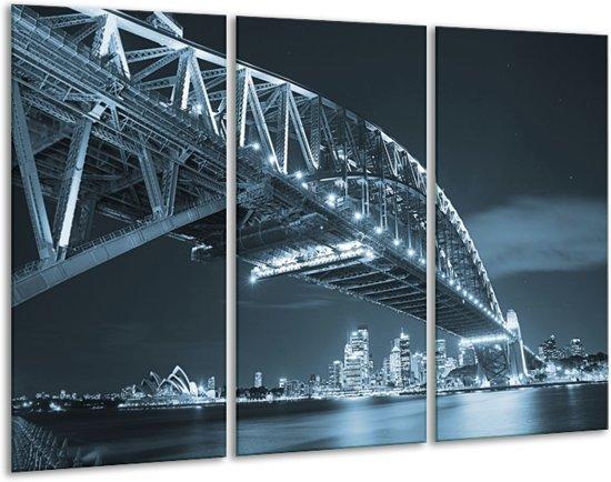 Glas schilderij Steden, Brug | Blauw | 120x80cm 3Luik | Foto print op Glas |  F006352