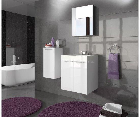 Badkamermeubel Met Deurtjes : Bol badkamermeubel londen inclusief spiegelkast hoogglans wit