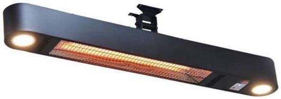 Terrasverwarmer Elegance met LED verlichting - Terrasverwarming -  Zwart - Muurbevestiging