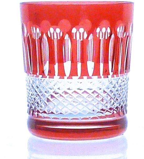 Kristallen whiskeyglazen  - Whiskyglas CHRISTINE - strawberry - set van 2 glazen - gekleurd kristal