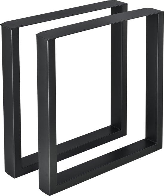 Tafelpoten Metaal Zwart.Meubelpoot Tafelpoot 2 Stuks Set Staal 70x72cm Zwart