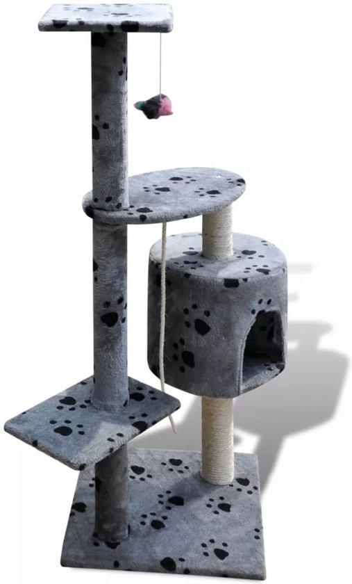 Krabpaal Tommie - 114 cm 1 huisje - Grijs met pootafdrukken
