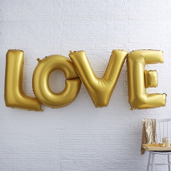 Ginger Ray Metallic Perfection - 'Love' XL folieballon - goud - Set-1 Valentinaa