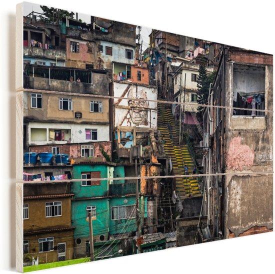 De Favela's in Rio de Janeiro Vurenhout met planken 60x40 cm - Foto print op Hout (Wanddecoratie)
