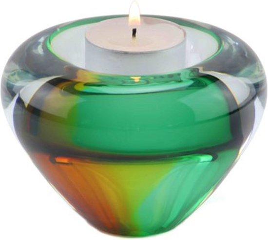 "Glazen urn. Asbestemming. ""Tealight"" goud-groen."