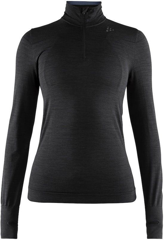 Craft Fuseknit Comfort Zip Dames Sportshirt - Black - XS
