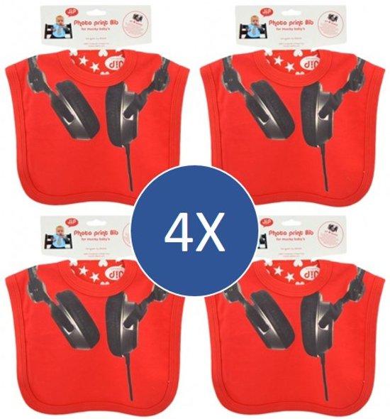 4-PACK  J.I.P. slabbetjes met coole DJ/koptelefoon print. Handig: alvast 4x cadeautje in huis.