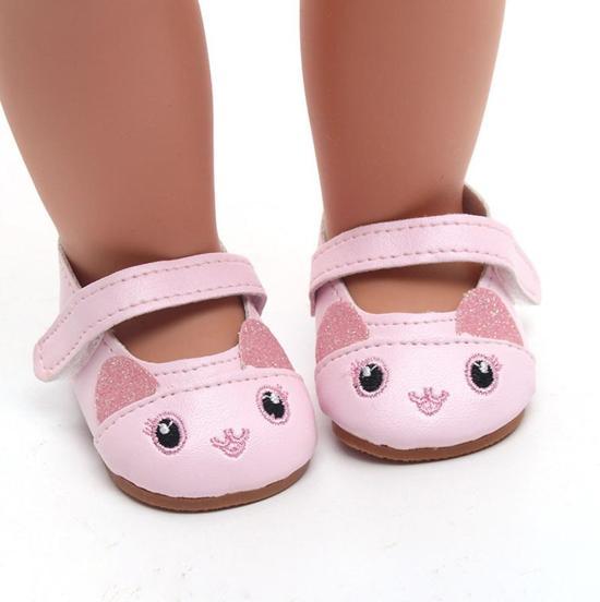 Konijn Schoentjes voor Baby born - Roze schoenen met neusje, ogen en glitter oortjes - Poppenschoentjes 7 cm