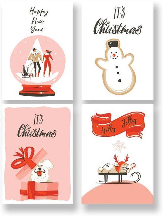 Kerstkaarten set Kerstmis DesignClaud - 12 stuks Incl. enveloppen - Kleurrijk en Vrolijk