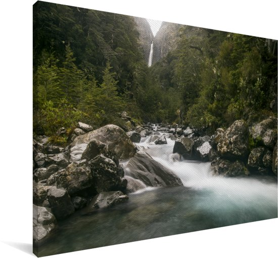 Rivier in het Nationaal park Arthur's Pass op het Zuidereiland Canvas 120x80 cm - Foto print op Canvas schilderij (Wanddecoratie woonkamer / slaapkamer)