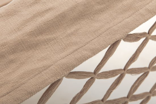 Luxe zandkleurige handgeweven hangmat met franje - biologisch katoen - GOTS keurmerk - 200x130x360cm | ECOMUNDY ROMANCE L BIO