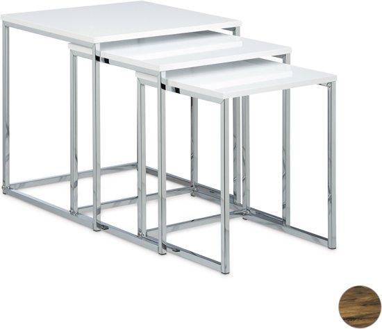 Bijzettafel Wit Metaal.Relaxdays Bijzettafel Set Van 3 Mimiset Modern Salontafel Hout Metaal Wit