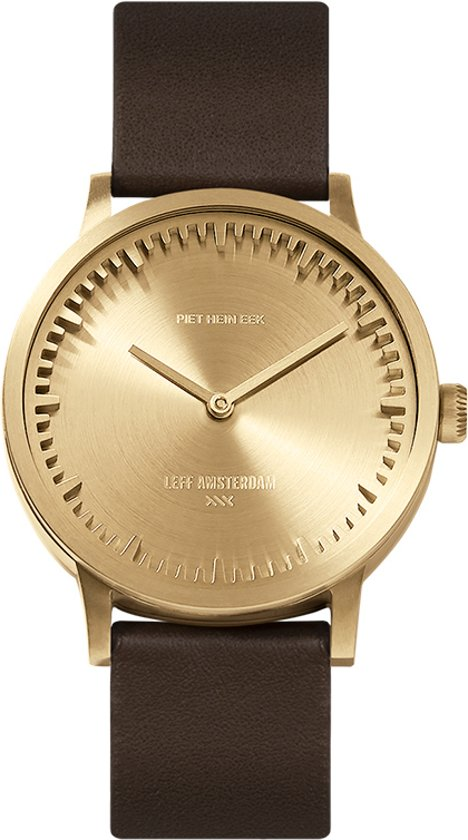 Tube watch T32 brass / brown leather strap