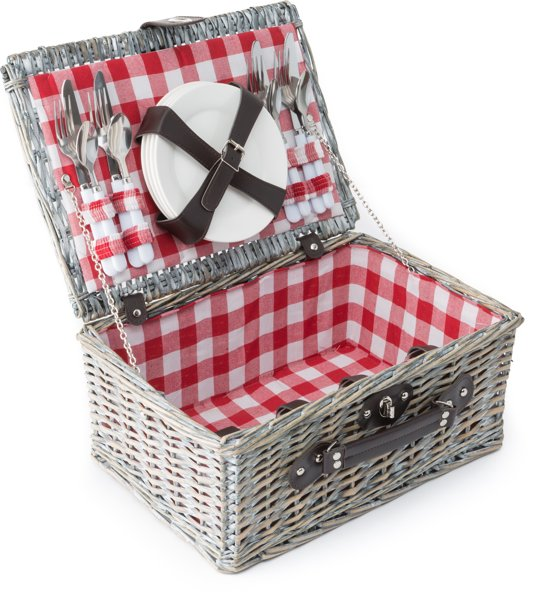 Imperial Kitchen Picknickmand - 4 persoons - 40 x 28 x 18 cm Rode ruit