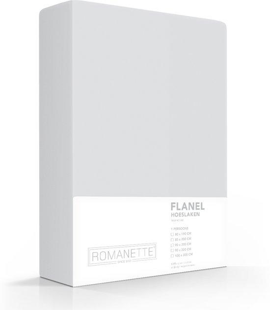 Romanette flanellen hoeslaken - Silver - 1-persoons (90x200 cm)