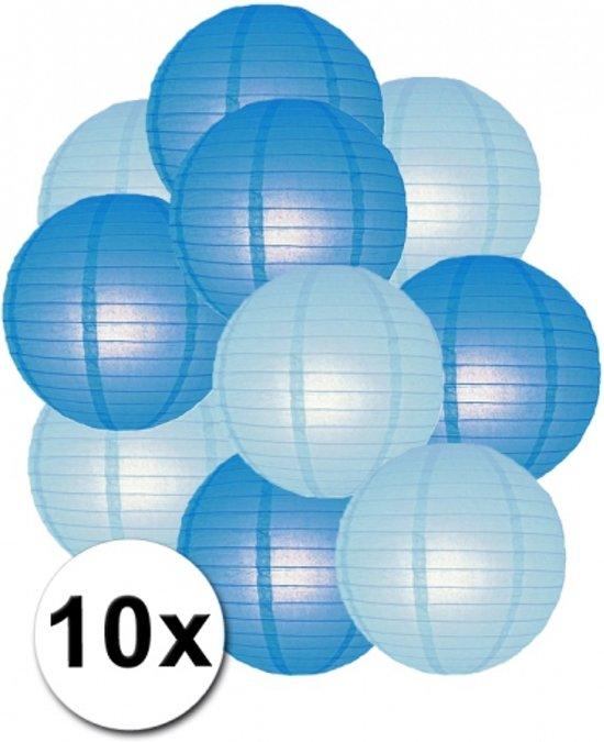 Lampionnen pakket blauw en lichtblauw 10x Valentinaa