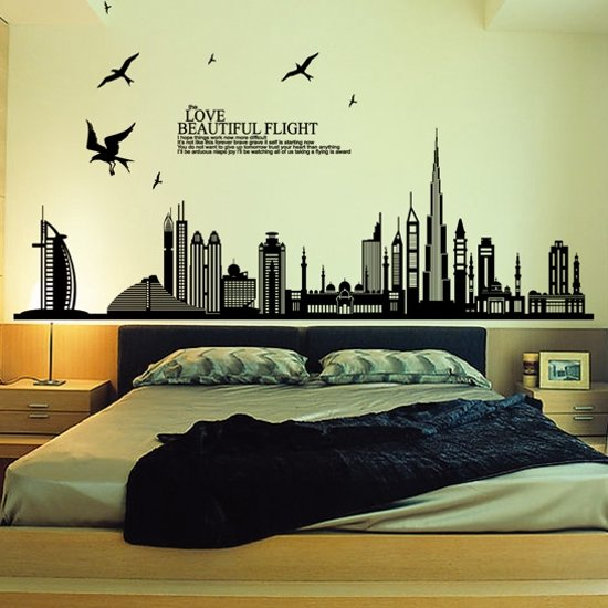 muursticker city stad skyline love beautiful flight voor woonkamer slaapkamer