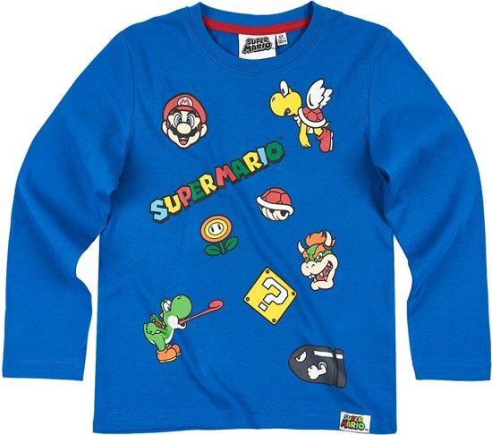 Super Mario Bros T-shirt-met-lange-mouw-blauw - Maat 134