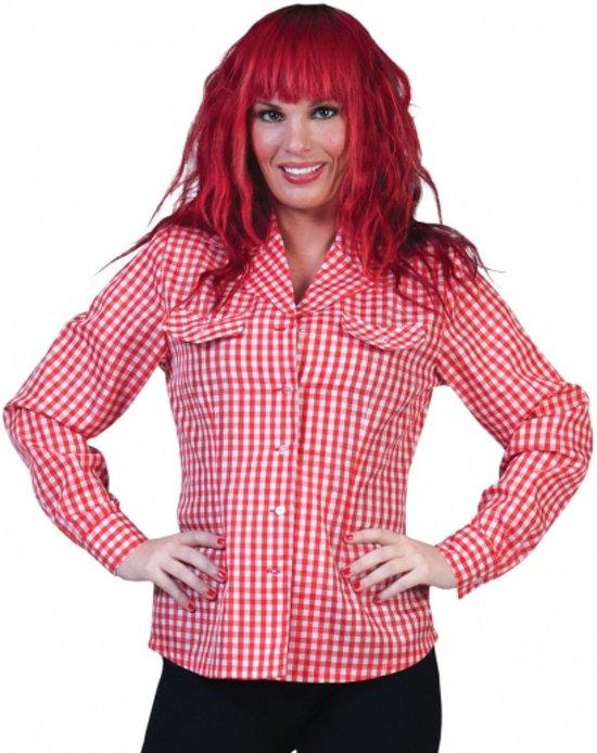Dames Tiroler overhemd rood/wit 44-46 (2xl/3xl)