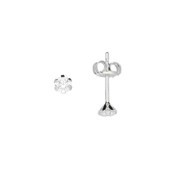Glow oorknoppen - witgoud - zirkonia - 3 mm