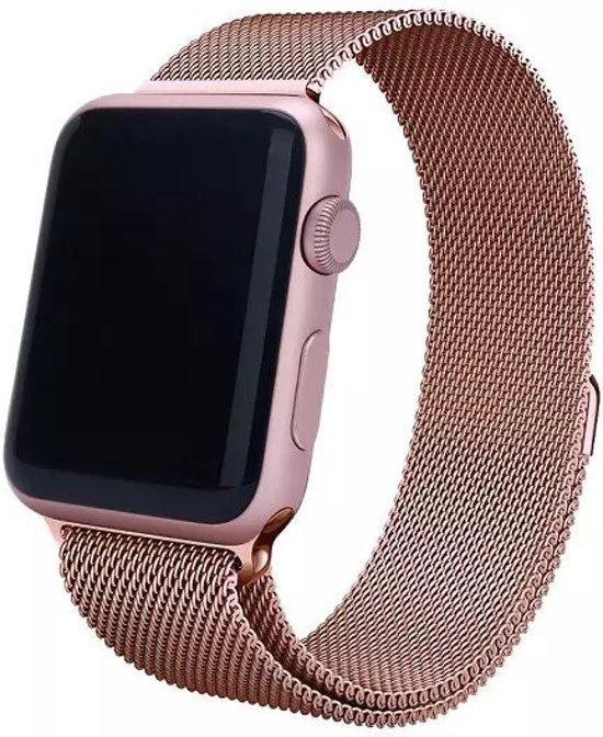 Milanese Loop Armband Voor Apple Watch Series 1/2/3 42 MM Iwatch Metalen Milanees Horloge Band - Rose Goud