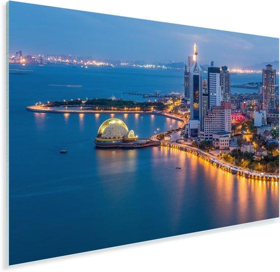 Nachtscène van de stad Qingdao in China Plexiglas 30x20 cm - klein - Foto print op Glas (Plexiglas wanddecoratie)